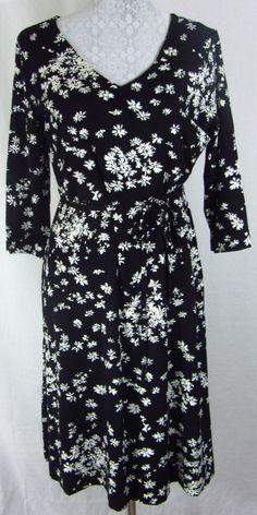 Hanna Andersson Floral Print Jersey Knit Faux Wrap Surplice Dress M Black White #HannaAndersson #FauxWrapSurplice #Casual