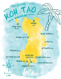 The 13 most beautiful beaches of Koh Tao Map