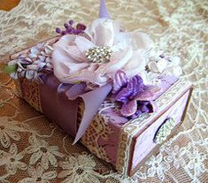 altered match box... lavender and purple
