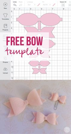 Free Pdf and cricut files for 3 sizes of cute little bows. Make them out of felt… Free Pdf and cricut files for 3 sizes of cute little bows. Make them out of felt, leather, vinyl, paper… the list is endless. Making Hair Bows, Diy Hair Bows, Diy Bow, Bow Making, Diy Leather Bows, Bow Template, Templates, Cricut Craft Room, Bow Pattern