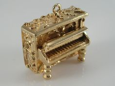 Vintage 3D 9ct Gold Movable Upright Piano Charm.H/MK 1968 by BishopsAttic on Etsy