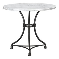 french kitchen bistro table (crate & barrel) with carrera marble top, white with gray veining, steel base, perfect to use as a round table in any room or as a breakfast table - timeless