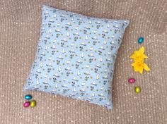 Items similar to Easter Decor - Easter Gift - Easter Cushion - Handmade Decorative Blue Cushion - Owl & Bunny Print Pattern - Pink Polka Dot Reverse - Spring on Etsy Polka Dot Fabric, Pink Polka Dots, Blue Cushion Covers, Blue Cushions, Cute Owl, Easter Gift, Handmade Decorations, Easy Access, Sally