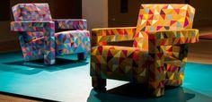 "Clásicos de Gerrit Rietveld revisitados, por CASSINA. ""Utrecht"" revestido con tapiz diseñado por Bertjan Pot. #isaloni #isaloni2016 #MDW2016 #salonedelmobile #GerritRietveld #Cassina #BertjanPot"