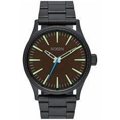 Nixon 'The Sentry' Bracelet Watch, 38mm ($200) ❤ liked on Polyvore featuring jewelry, watches, bracelet jewelry, nixon bracelet, adjustable bracelet, retro watches and retro bracelet