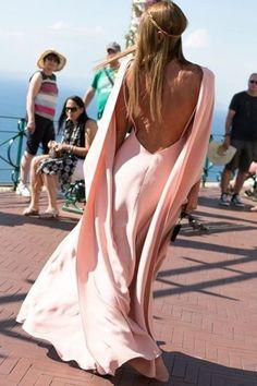 Bridesmaid dress GOALS. Anna Dello Russo in blush Valentino at Giovanna Battaglia's Capri wedding.