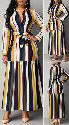 Turndown Collar Stripe Print High Waist Dress - New Site Long African Dresses, Latest African Fashion Dresses, Posh Dresses, Casual Dresses, African Traditional Dresses, Outfits Dress, African Attire, Classy Dress, Stripe Print