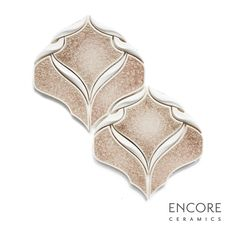 Encore Ceramics | Belvedere mosaic hand-glazed in Papyrus jewel, with dimensional ribbon in Bianca matte | Sustainably made in Oregon