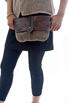 Brown Big Leather and Canvas Hip Bag  Fanny Pack  Traveler Bag  Utility Hip Belt  Hip Pouch >>> Find out more about the great product at the image link.-It is an affiliate link to Amazon.