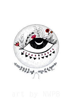 Ojo de Luna. Moon eye. Art print. Illustration on Etsy, $10.00