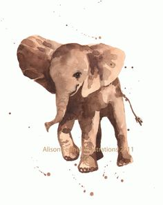 Nursery ELEPHANT Print  8x10 inches  Gentle Graham by eastwitching,