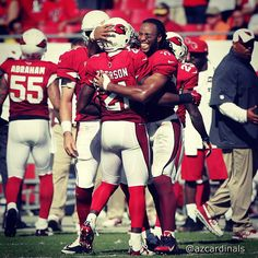 The heroes of the game, #PatrickPeterson and #LarryFitzgerald, embrace after sealing the victory in Tampa. #AZCardinals @Gene Lower / Slingshot Photography #nfl #AZvsTB #azlottery #photooftheday