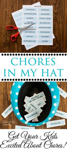Chores in My Hat Free Printable - Get Your Kiddos Excited About Doing Chores Craft Projects For Adults, Craft Activities For Kids, Diy Craft Projects, Kid Projects, Crafts For Kids, Autism Parenting, Kids And Parenting, Parenting Hacks, Cleaners Homemade