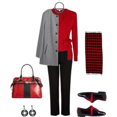 """Red, Grey, and Black"" by sep120 on Polyvore"