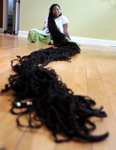 "Asha Mandela World's Longest Dreadlocks. The mom from The Atlanta area has been known as the 'red Rapunzel"" for her (cca m) dreadlocks, the globe's lengthiest. Rapunzel, Dreadlock Hairstyles, Long Hairstyles, Dreads Styles, Curly Hair Styles, Cut My Hair, Her Hair, Natural Hair Care, Natural Hair Styles"