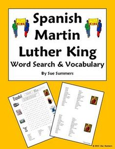 Martin Luther King Day Spanish Word Search, Vocabulary, and Image IDs by Sue Summers - 16 clues, bilingual word list, and 7 image IDs. Great for a substitute lesson plan! Spanish holidays