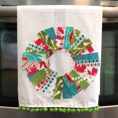 love this scrappy wreath tea towel