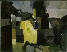 acid yellow/ Keith Vaughan, Farm in Berkshire, 1956 Abstract Landscape, Landscape Paintings, Abstract Art, Manchester Art, British Artists, Glasgow School Of Art, Unusual Art, Romanticism, Nocturne