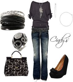 """Black and Silver"" by cindycook10 ❤ liked on Polyvore"