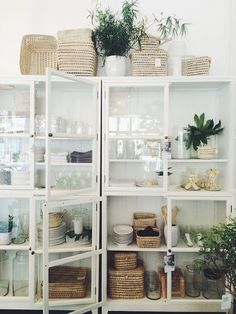 gorgeous white and glass storage