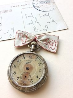 Image of My story hand stitched silk bow with vintage pocket watch