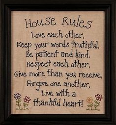 Primitive Rustic Inspiration HOUSE RULES STITCHED FRAME Sign Antique Home Decor