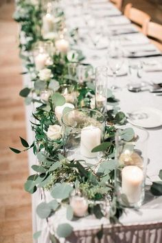 chic long table wedding centerpiece ideas wedding flowers 25 Budget Friendly Simple Wedding Centerpiece Ideas with Candles - EmmaLovesWeddings Romantic Wedding Centerpieces, Wedding Bouquets, Simple Wedding Table Decorations, Wedding Greenery, Wedding Table Garland, Party Table Decorations, Wedding Ideas For Tables, Wedding Long Table Flowers, Flowers On Table