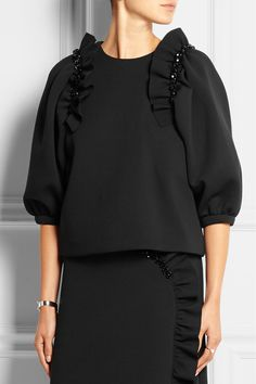 Simone Rocha | Embellished ruffled stretch-neoprene jersey top | NET-A-PORTER.COM
