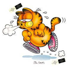 Original airbrushed artwork from the early of Garfield jogging created for either a poster or postcard. Artwork comes with a black mat and is signed by Jim Davis. Garfield Pictures, Garfield Quotes, Garfield Cartoon, Garfield And Odie, Garfield Comics, Cartoon Jokes, Childhood Characters, Cartoon Characters, Comic Cat