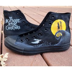 Custom Painted Nightmare Before Christmas Converse ($120) ❤ liked on Polyvore featuring shoes and converse