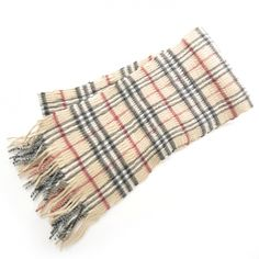 BURBERRY Cashmere and Wool Ruched Check Fringe Scarf