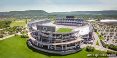 Beaver Stadium and Mount Nittany from the Air, highlighting the new scoreboards.