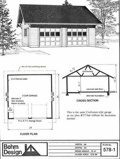 Reverse gable two car garage plan 672 3 28 39 x 24 39 by behm for 28 x 24 garage plans