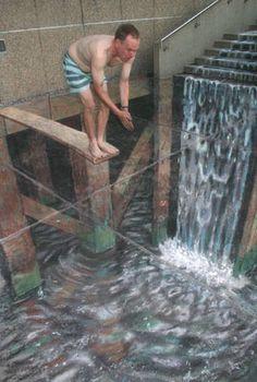 Waterfall...Pavement Art