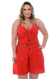 Macaquinho Plus Size Abbey Modelos Plus Size, Looks Plus Size, Ideias Fashion, Curvy, Rompers, Chic, Crochet, Blond, Dresses