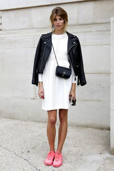 Leather jacket + chanel bag + white dress + pink shoes