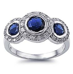 Rhodium Plated Sterling Silver Wedding & Engagement Ring Blue Sapphire CZ 3 Stones Ladies Ring 12MM ( Size 5 to 10) Double Accent. $34.99. 925 Sterling Silver. Nickel Free. Hypoallergenic. Prompt Shpping. Comes with Beautiful Jewelry Case