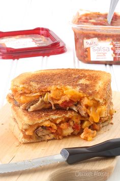 Salsa Chicken Grilled Cheese Sandwiches