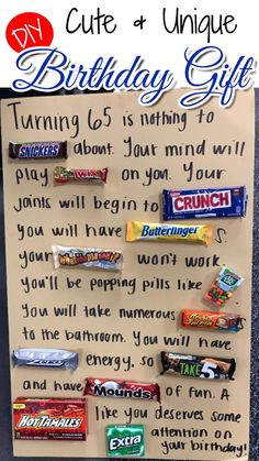 What a super cute and EASY DIY birthday gift idea – especially for someone who loves CANDY! The picture below shows this homemade birthday gift idea for a 65th birthday, but I can see it being perfect for ANY age (tho the wording is geared more to someone getting older – like for a 40th... Read More