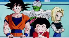 Goku, Piccolo, Krillin, and 18 at the 25th World Martial Arts Tournament.