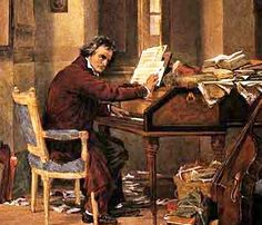 Ludwig van Beethoven at the piano. I hadn't realized he became deaf so young - when he was still in his early 30s! The loss of his hearing, which also meant the loss of his brilliant career as a virtuoso pianist, was devastating. But that tragedy made Beethoven turn to composing -- and we are the grateful winners.