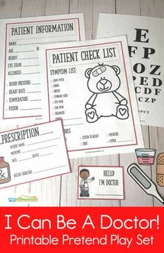 Kids Doctor Kit, Doctor Role Play, Diy Doctor, Playing Doctor, Feelings Activities, Kindergarten Activities, Activities For Kids, Preschool Ideas, Free Printable Worksheets