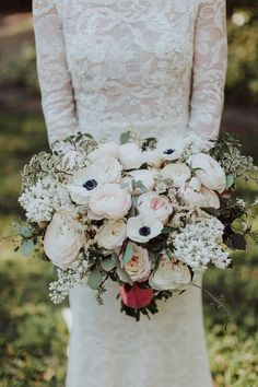 Anemone and ranunculus wedding bouquet: Spring Miami Garden Wedding at Villa Woodbine