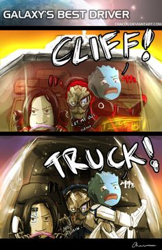 Andromeda Galaxy I love driving when Liara is in the vehicle xD LOL<- this is perfect! Mass Effect Comic, Mass Effect Funny, Mass Effect Games, Mass Effect Art, Mass Effect Humor, Mass Effect Universe, Commander Shepard, Andromeda Galaxy, Dragon Age