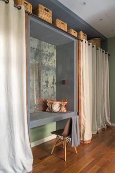Home Design Decor, House Design, Interior Design, Bedroom Plants Decor, Room Decor, Curtain Wardrobe Doors, Closet Layout, Bedroom Closet Design, Small Room Design