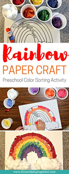 Rainbow Paper Craft for Kids Easy Craft Idea for Toddlers and Preschool Paper #crafts | Toddler Crafts | Preschool Crafts | Rainbow Crafts | St. Patrick's Day | Homeschool Crafts | Preschool Activities | Color Sorting #artsandcraftsideasforkids,