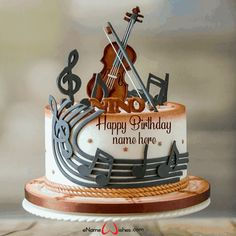 Write name on pictures by stylizing their names and captions by generating text on Musical Birthday Wishes with Name with ease. Music Birthday Cakes, Birthday Wishes Songs, Birthday Wishes With Name, Music Themed Cakes, Birthday Wishes Flowers, Fruit Birthday Cake, Music Cakes, Happy Birthday Flower, Birthday Cards