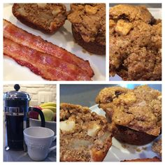 Warm yummy breakfast for a crisp Sunday morning.  #applemuffins with a #brownsugar top, #bacon and some #frenchpress #coffee #apples #cinnamon #wholewheat #fortheloveofbaking #baking #whatibakedtoday #storyofmytable #spatulaandwisk #foodphotoblog  thanks @kingarthurflour for the #inspiration! #brunch #funday