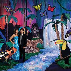 Our Deluxe Set the Stage Safari Party Kit has lions, tigers and even monkeys swinging from a tree. Vbs Themes, Dance Themes, Prom Themes, Theme Ideas, Rainforest Theme, Amazon Rainforest, 21st Birthday, Birthday Party Themes, Stumps Party