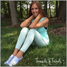 "Mint Gingham Printed Leggings Gingham patterned leggings and sleeveless tunics...super cute for spring & summer. Leggings made of poly/spandex inseam 28.5"" Sleeveless tops made of rayon/spandex. Each sold separately. Pants Leggings"